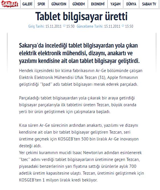 Jedi Tablet Haber sabah.com.tr